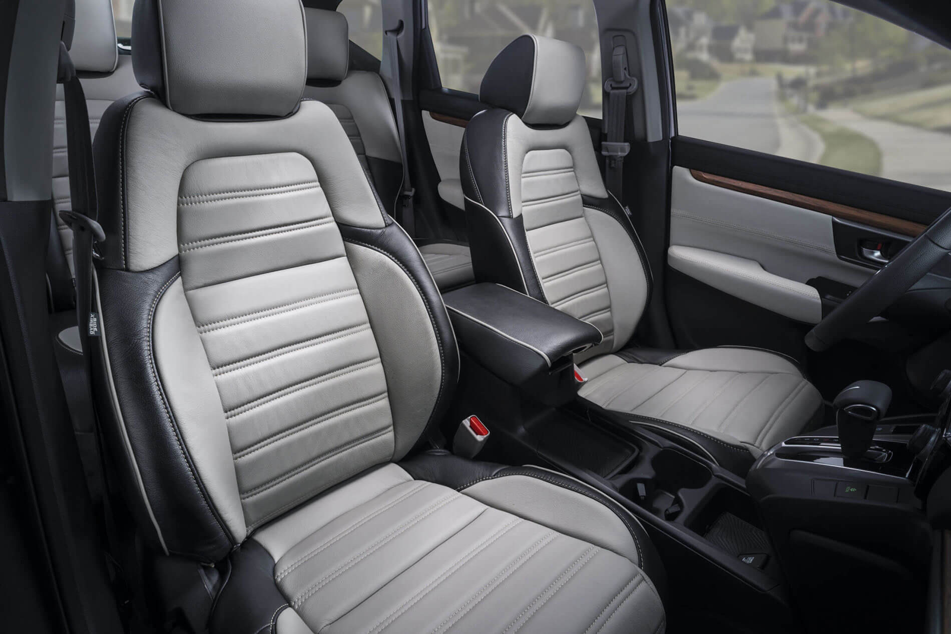 Katzkin honda crv gray leather seats interior katzkin for Gray honda crv