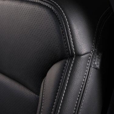 Katzkin Chevy Tahoe Black Leather Seat Closeup
