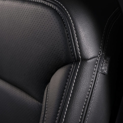 Katzkin Chevy Tahoe Black Leather Seat Closeup