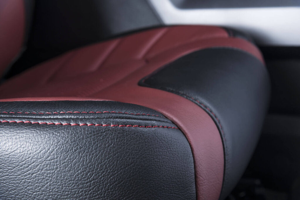 Katzkin Ford F-150 Red Leather Seat Stitching