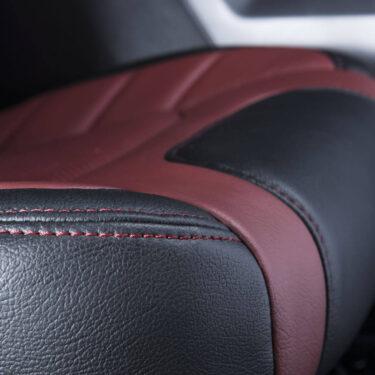Katzkin Ford F-150 Red Leather Seat Stitching