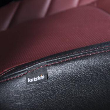 Katzkin Tag on Ford F-150 Red Leather Seat Closeup - Alternate View