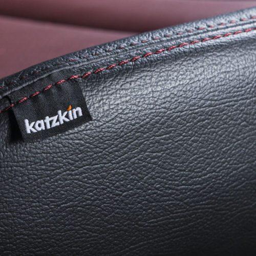 Katzkin Tag on Ford F-150 Red Leather Seat Closeup
