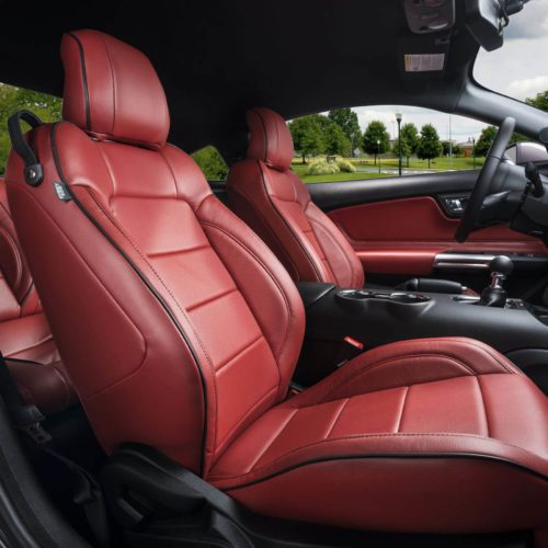 Katzkin Ford Mustang Red Leather Seats Low Angle