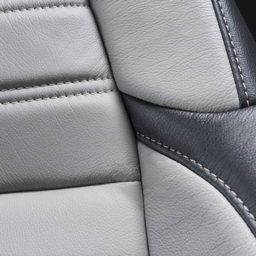 Katzkin Honda CRV Black & Grey Leather Seat Closeup Detail