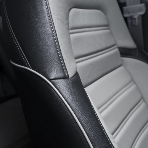 Katzkin Honda CRV Black & Grey Leather Seat Side View