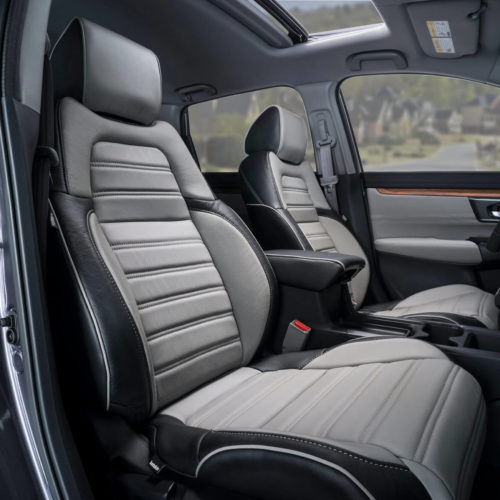 Katzkin Honda CRV Black and Grey Leather Interior Low Angle