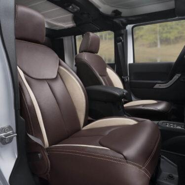 Katzkin Jeep Wrangler Brown Leather Seat Low Angle