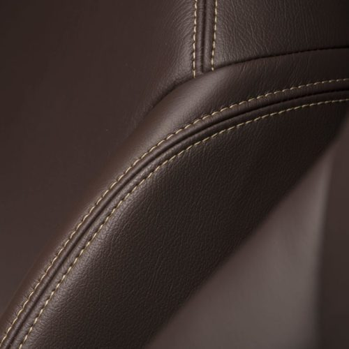 Katzkin Jeep Wrangler Brown Leather Seat Closeup