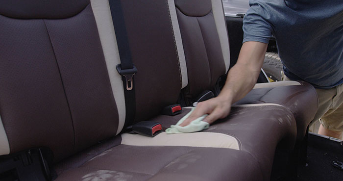 Wiping Katzkin Wranger Leather Seat Clean