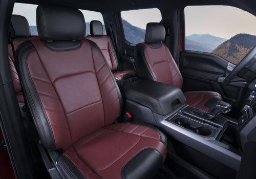 Katzkin Ford F150 red leather interior