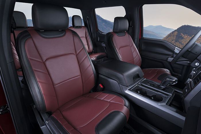 Katzkin Ford F150 red leather interior