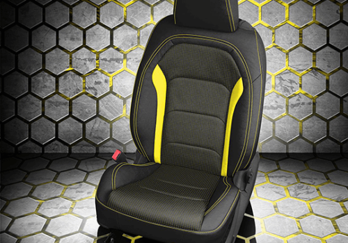 Chevrolet Camaro Black Leather Seat with Yellow Accents