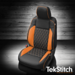 Toyota Tacoma leather seat with orange accent