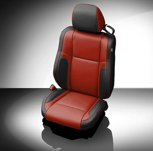 Dodge Challenger Red and Black Leather Seat