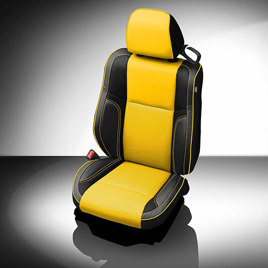 Dodge Challenger Yellow and Black Leather Seat