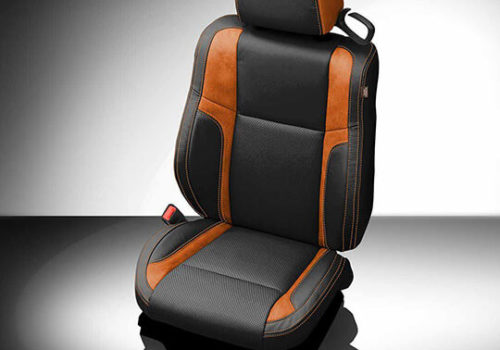 Dodge Challenger Black and Orange Leather Seat