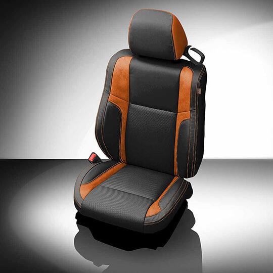 Dodge Challenger Black and Orange Leather Seat