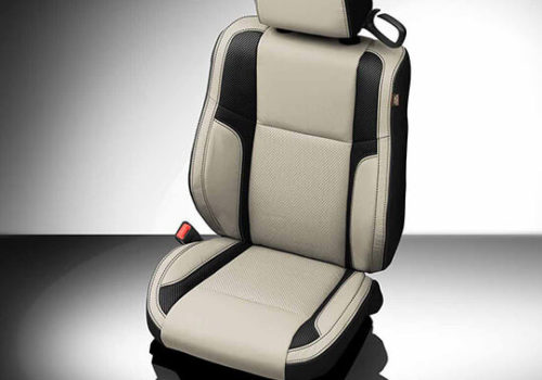 Dodge Challenger Beige and Black Leather Seat