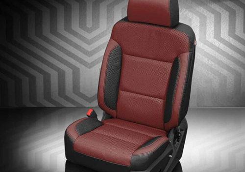 GMC Sierra Maroon and Black Leather Seat