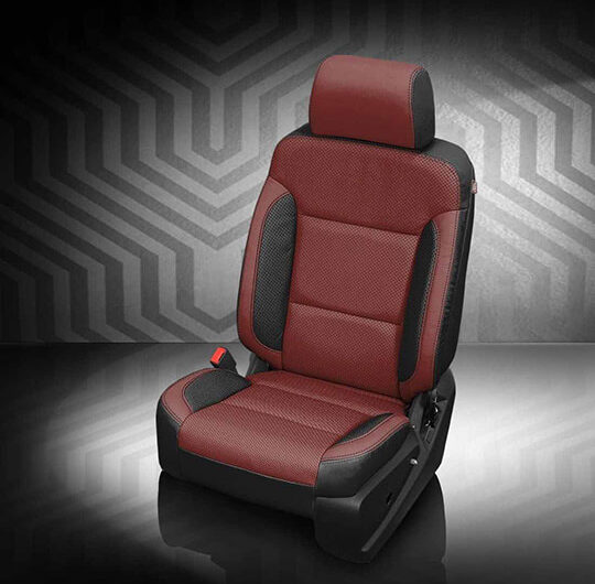 GMC Sierra Maroon and Black Leather Seat