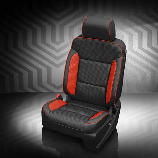GMC Sierra Black and Red Leather Seat
