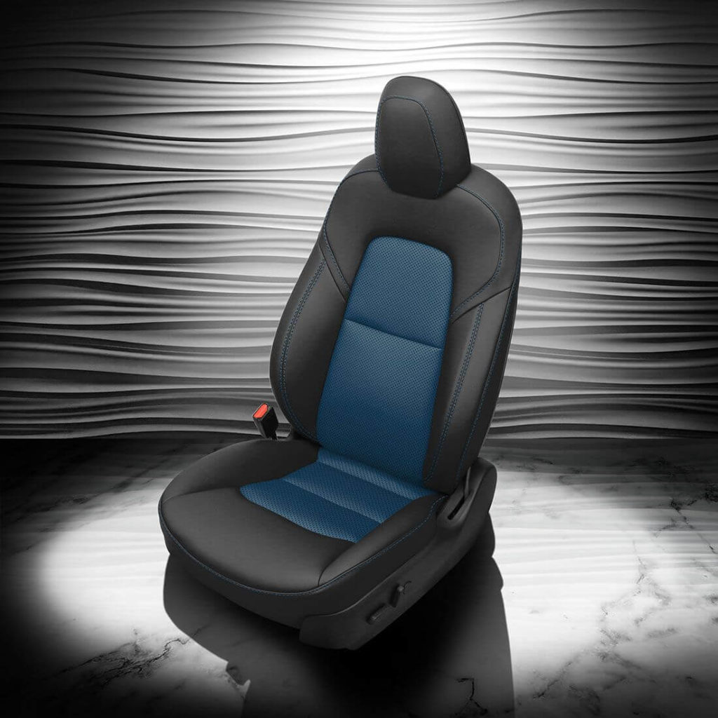 Tesla Model 3 Black And Blue Leather Seat