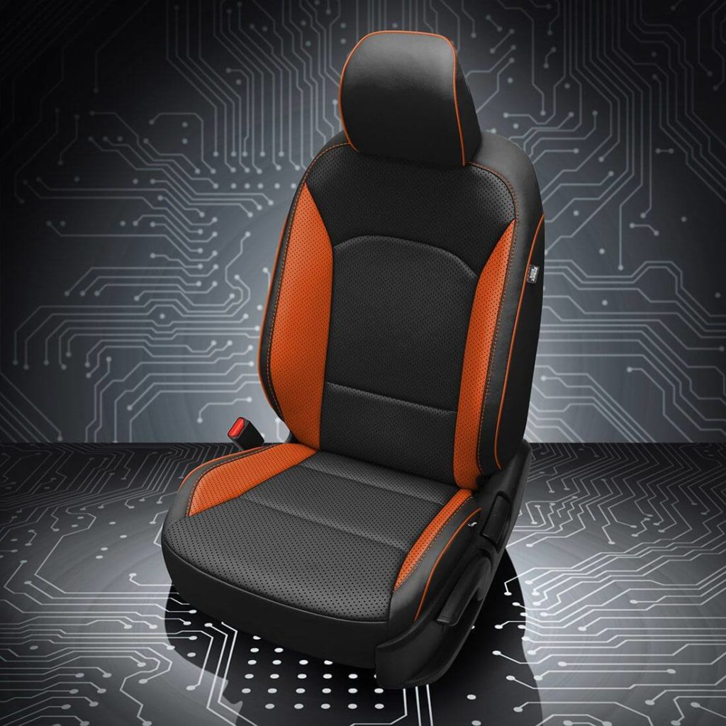 Kia Soul Black and Orange Leather Seats