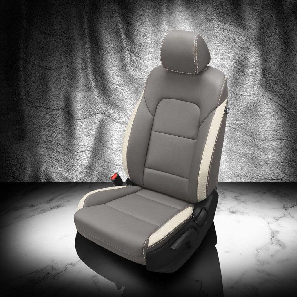 Kia Sportage Gray and White Leather Seat Covers