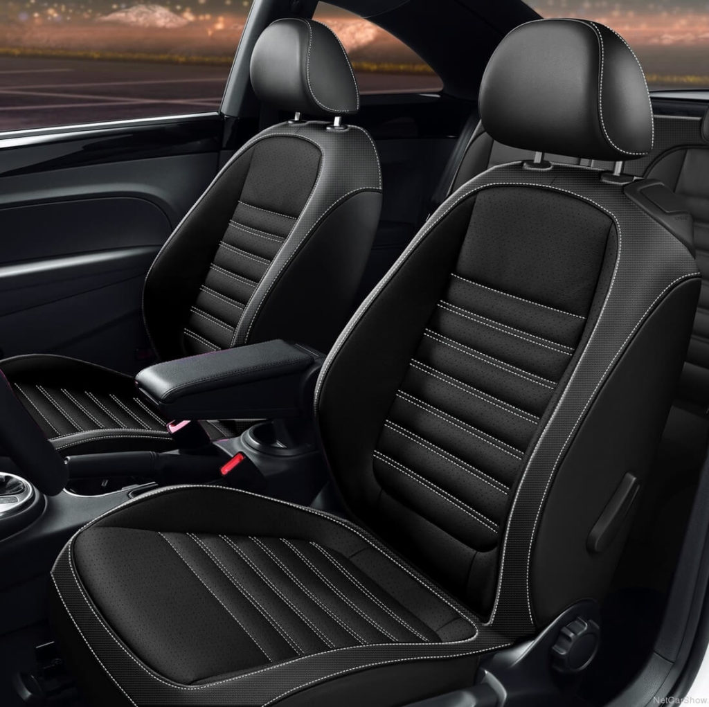 VW Beetle Black Leather Seats With Stitching