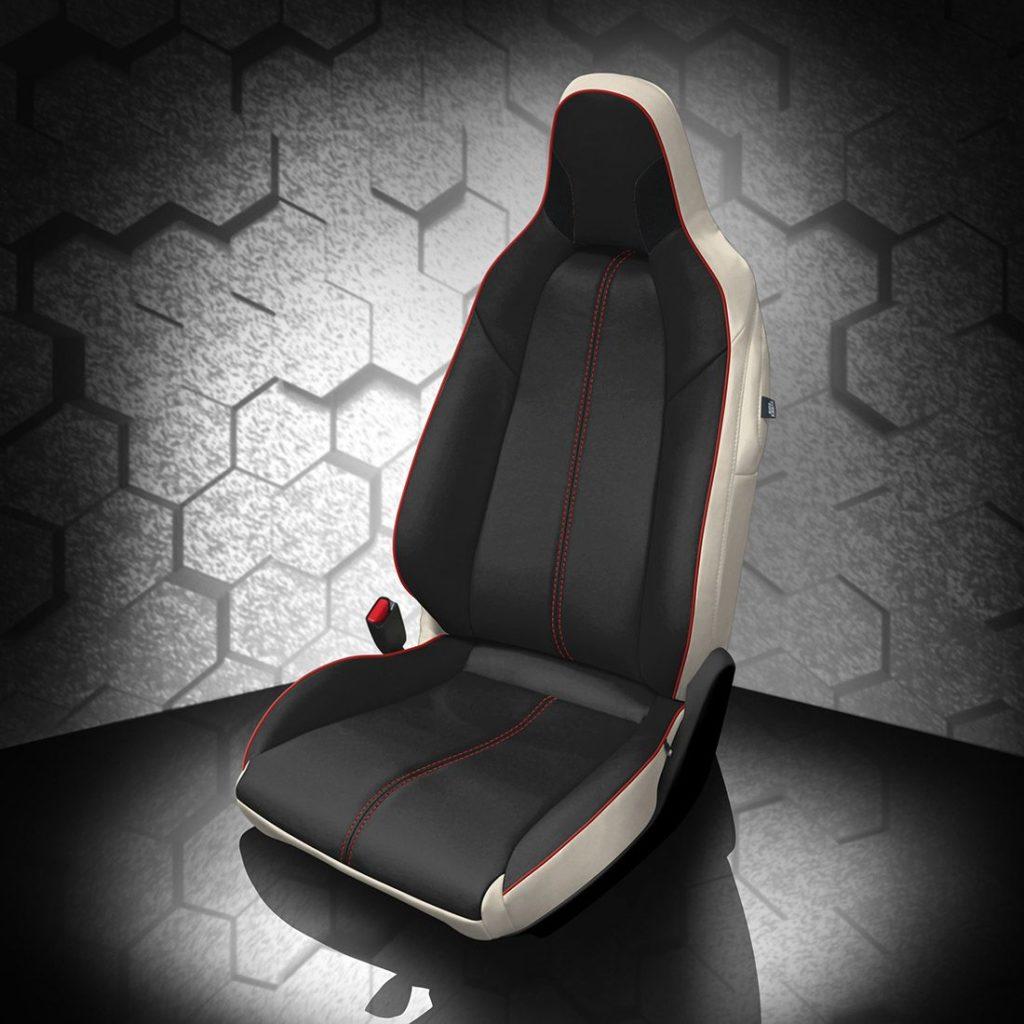 Mazda Miata Black and White Leather Seats