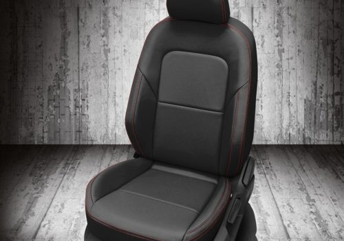 VW Black Leather Seats with Red Stitch