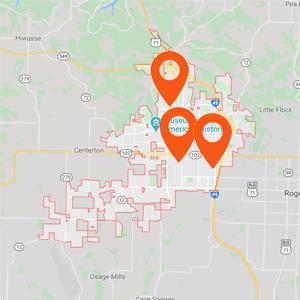 Auto Upholstery Bentonville AR Map
