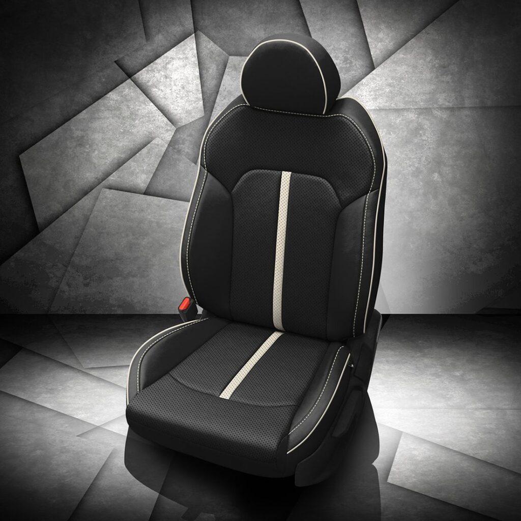 Kia K5 White Stripe Leather Seats