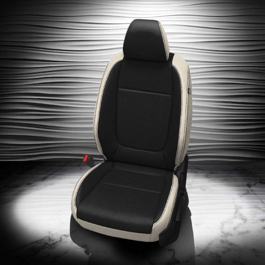 Kia Seltos Black and White Leather Seats