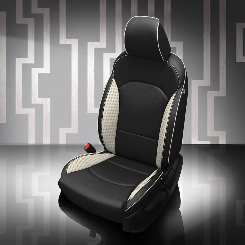 White and Black Kia Forte Leather Seats