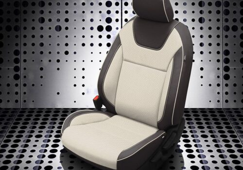 Black and White Nissan Kicks Leather Seats