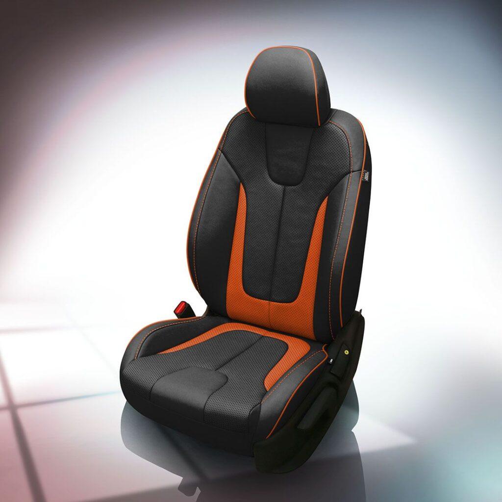 Orange and Black Hyundai Veloster Leather Seats