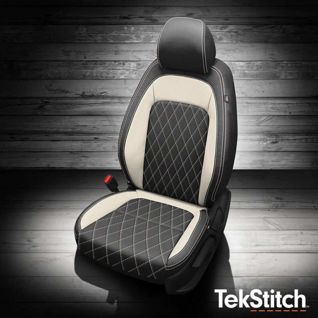 Black and White TekStitch Hyundai Venue Leather Seats