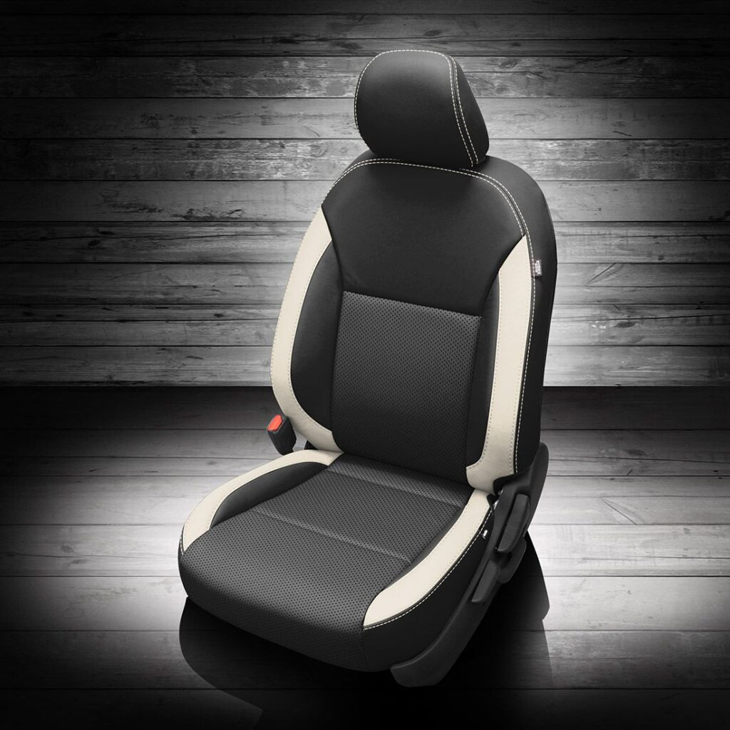 Black and White Nissan Versa Leather Seats