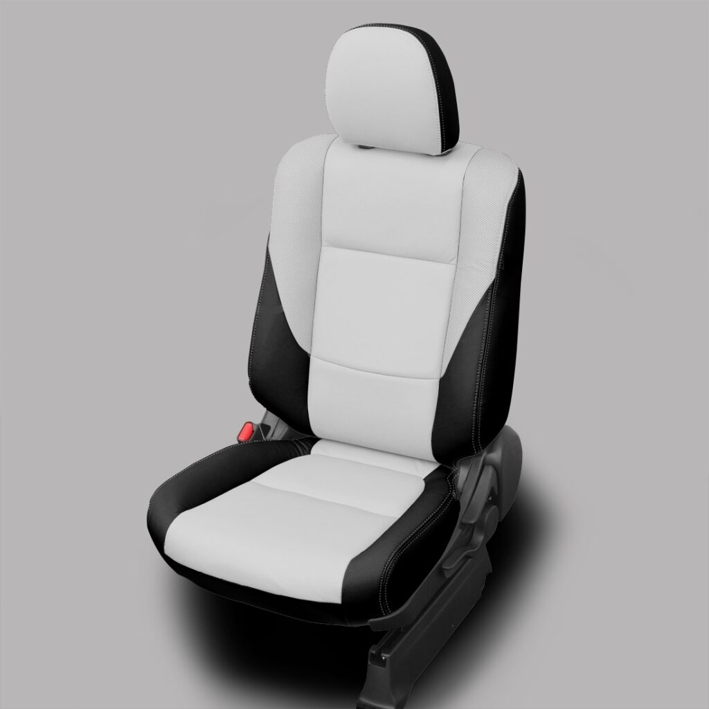 White and Black Mitsubishi Outlander Leather Seats
