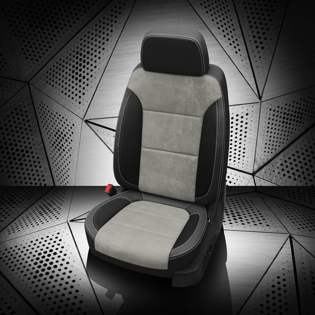 Silverado Gray Two-Tone Leather Seats