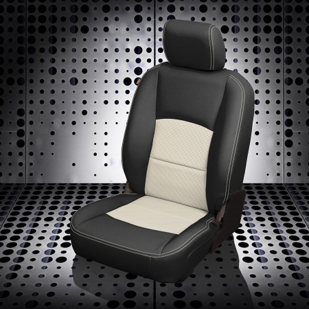 Ram 1500 Black and White Leather Seat